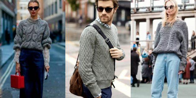Модные свитера 2018-2019: классический серый свитер