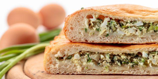 Заливной пирог с яйцами и зелёным луком: простой рецепт
