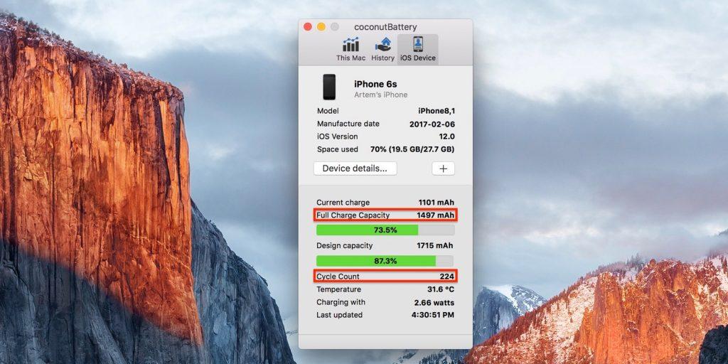 Как проверить iPhone: текущая ёмкость аккумулятора и количество циклов перезаряда в программе coconutBattery