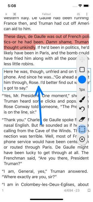 KyBook 3: выделение текста