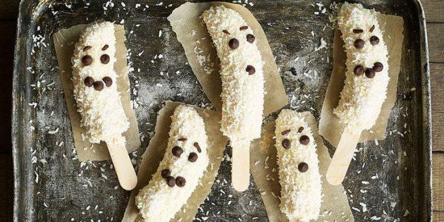 Блюда на Хэллоуин: Банановые привидения в шоколаде