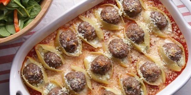 Что приготовить из фарша: Запечённая паста, фаршированная сыром и фрикадельками