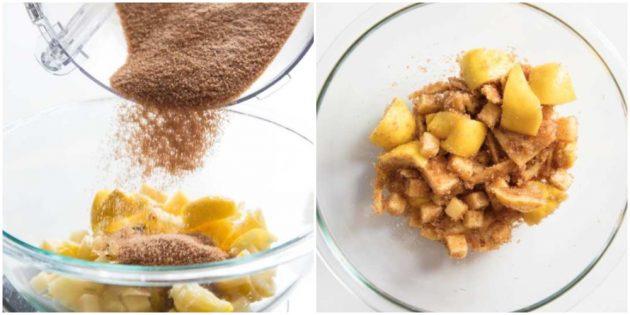 Как почистить, порезать ананас и сделать сироп из обрезков: Добавьте сахар и хорошенько перемешайте