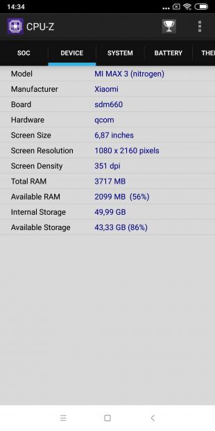 обзор Xiaomi Mi Max 3: CPU-Z