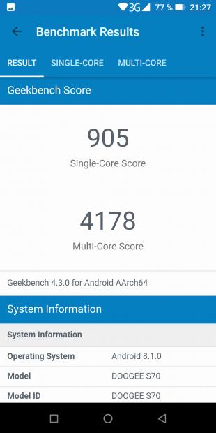 Doogee S70: результаты в GeekBench