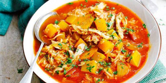 Блюда из тыквы: Пряный суп с тыквой, индейкой и рисом