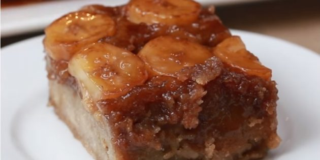Банановые пироги: Перевёрнутый пирог с карамелизированными бананами