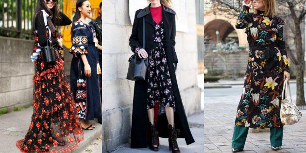 Модные платья с цветочными принтами