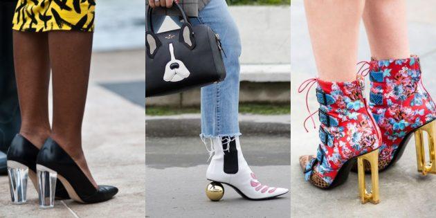 Модная женская обувь 2018 года: Обувь с необычным каблуком