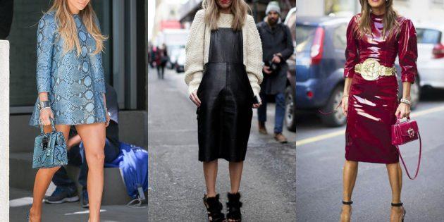 Самые модные платья осени-зимы 2018/2019: Кожаные платья