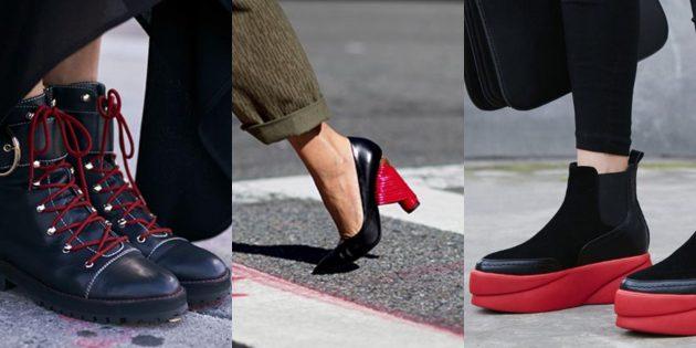 Модная женская обувь 2018 года: Красно-чёрная обувь