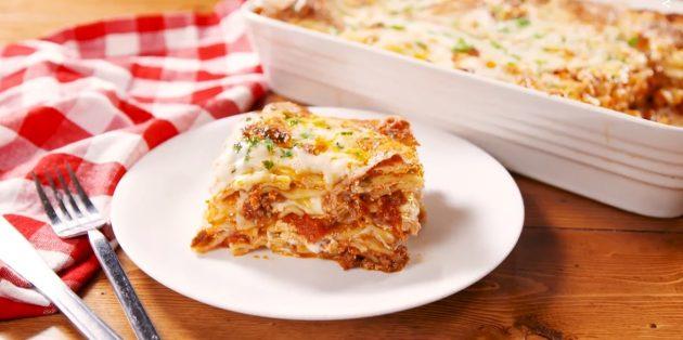 Рецепты: Лазанья с фаршем и сыром
