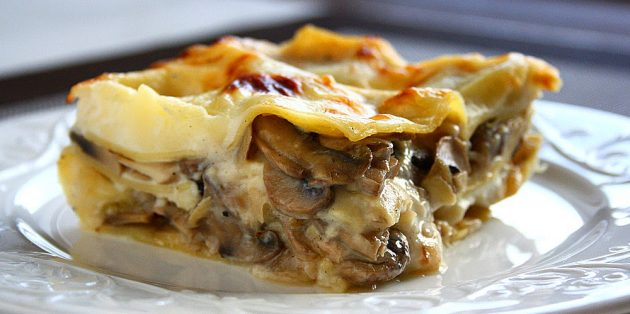 Рецепты: Лазанья с грибами и сыром