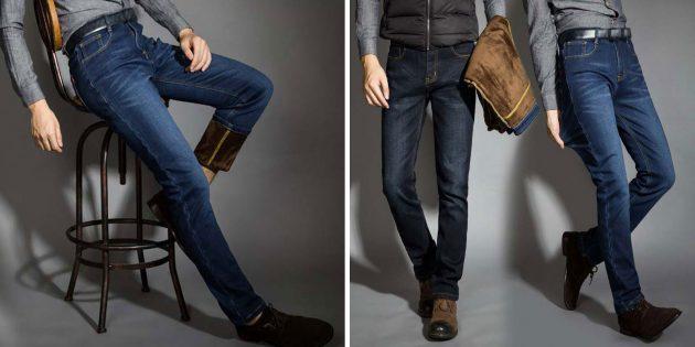 Утеплённые джинсы для мужчин
