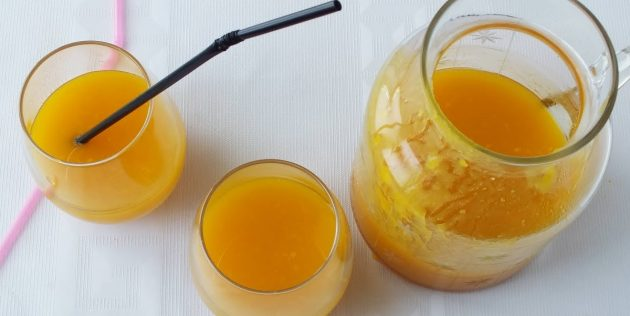 Тыквенный сок с мякотью, приготовленный без соковыжималки