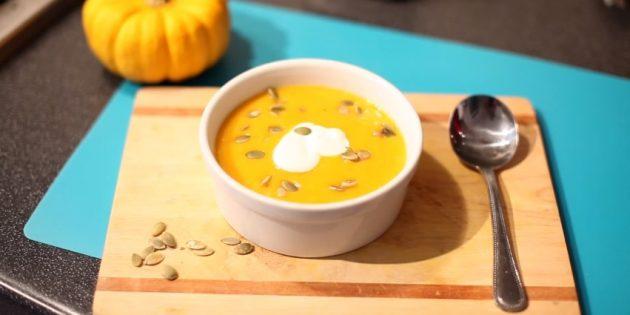 Тыквенный суп-пюре со сметаной