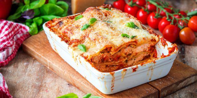 Рецепт лазаньи с куриными грудками и сыром