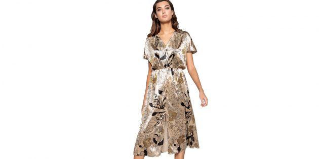Платье велюровое с цветочным принтом La Redoute