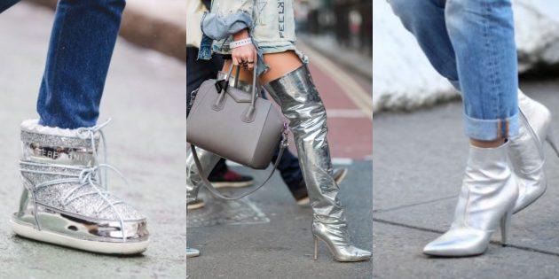 Модная женская обувь 2018 года: Серебро