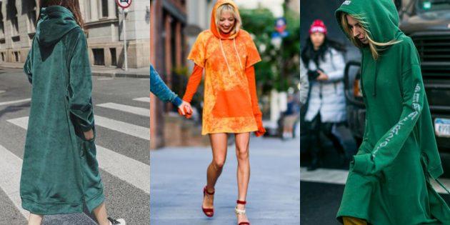 Самые модные платья осени-зимы 2018/2019: Спортивные платья-худи свободного кроя