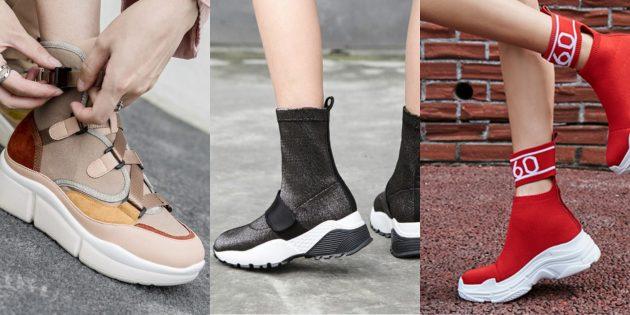 Модная женская обувь 2018 года: Высокие кроссовки в стиле стимпанк