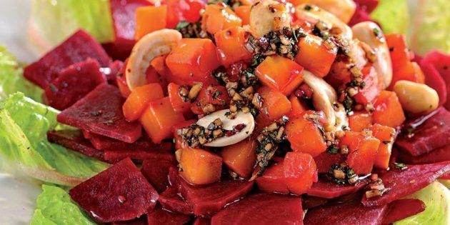 Блюда из репы: Салат с репой, свёклой и орехами