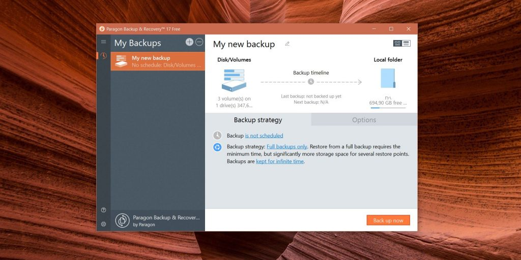 Приложения для бэкапа: Paragon Backup & Recovery