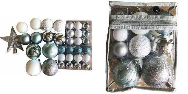Новогодние игрушки: набор с игрушками и звездой-верхушкой