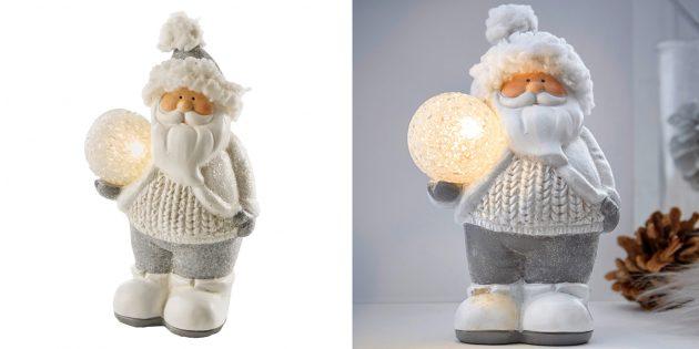 Новогодние игрушки: Дед Мороз со светодиодным шаром