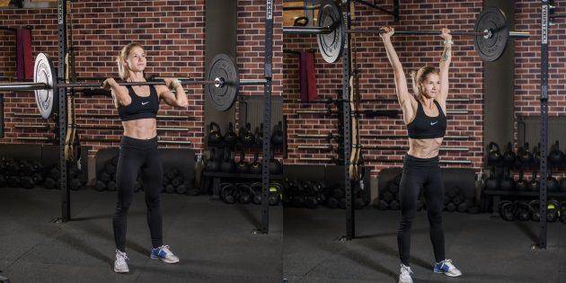 Программа тренировок для девушек в тренажёрном зале: Жим штанги с груди стоя