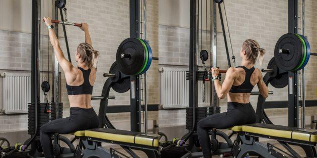 Лучшие упражнения для спины: Тяга верхнего блока к груди