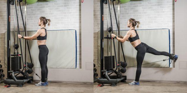 Программа тренировок для девушек в тренажёрном зале: Отведение ноги в кроссовере
