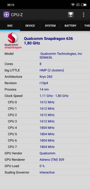 Обзор Xiaomi Redmi Note 6 Pro: CPU-Z