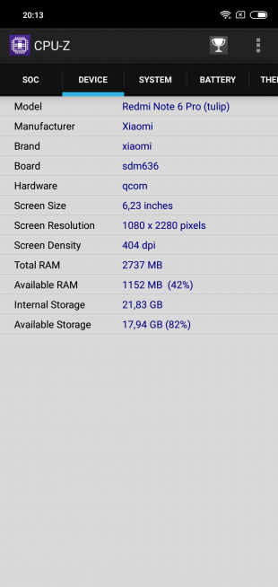 Обзор Xiaomi Redmi Note 6 Pro: CPU-Z (продолжение)