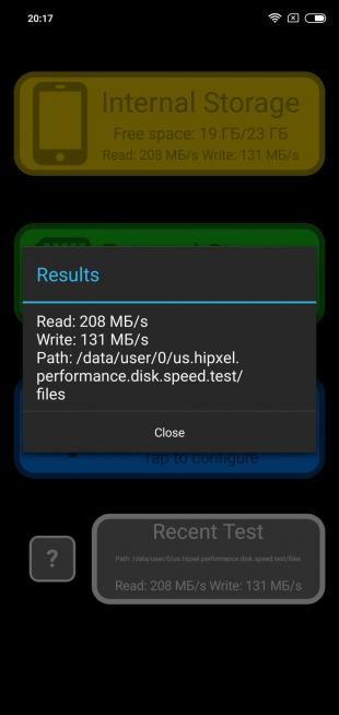 Обзор Xiaomi Redmi Note 6 Pro: Скорость накопителя