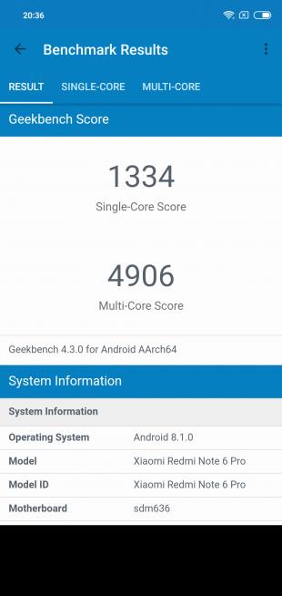 Обзор Xiaomi Redmi Note 6 Pro: GeekBench