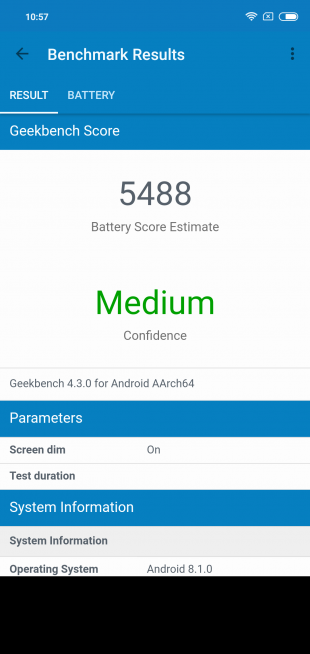 Обзор Xiaomi Redmi Note 6 Pro: GeekBench Battery