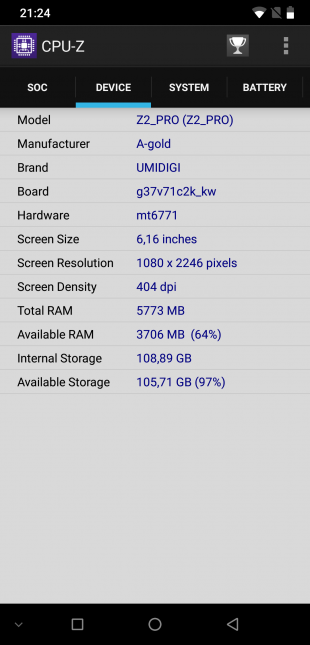 UMIDIGI Z2 Pro: CPU-Z
