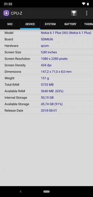 Обзор Nokia 6.1 Plus: CPU-Z (продолжение)