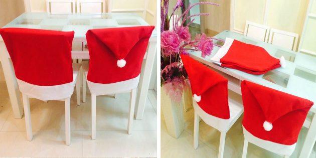 Новогодние украшения с AliExpress: Чехлы на спинки стульев