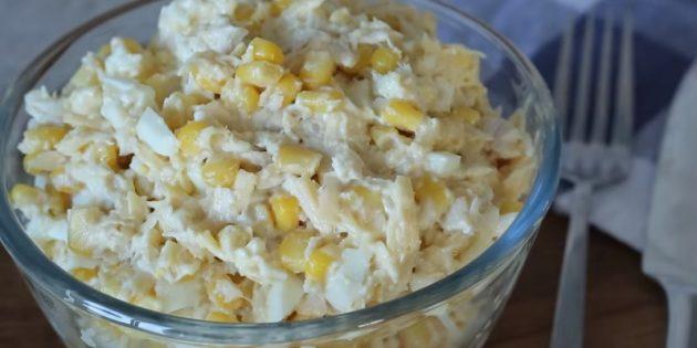 Рецепты: Салат с кукурузой, курицей и сыром