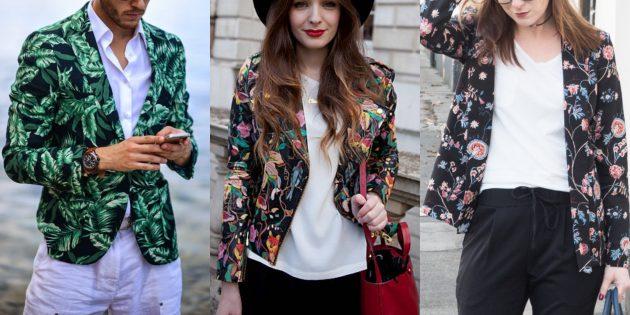 Модные пиджаки 2018–2019: С цветочным принтом