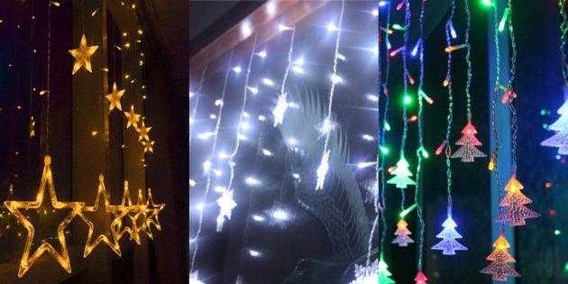 Новогодние украшения с AliExpress: Гирлянда-занавеска