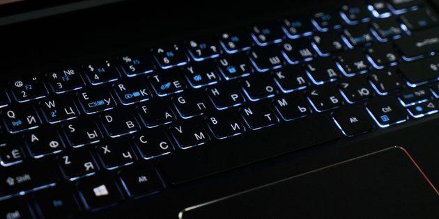 Acer Swift 7: Подсветка клавиатуры