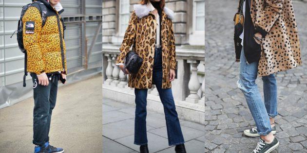 С чем носить джинсы осенью и зимой: С леопардовым верхом