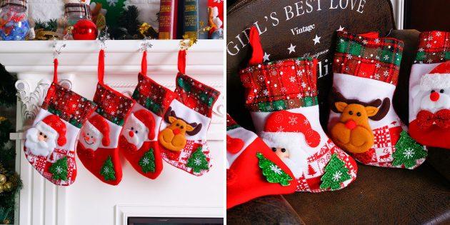 Новогодние украшения с AliExpress: Носочки