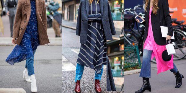 С чем носить джинсы осенью и зимой: С длинным платьем