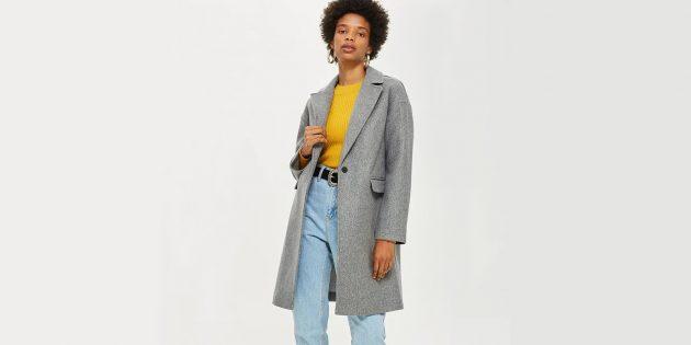 Серое однотонное пальто