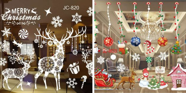 Новогодние украшения с AliExpress: наклейки на окна и двери