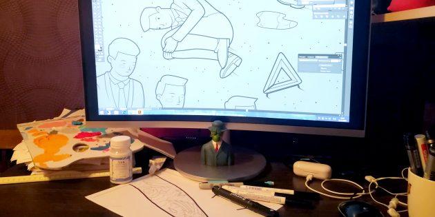 Антон Гудим: Сейчас у меня на столе: ноут, подключённый к нему большой монитор, куча чёрных фломастеров...